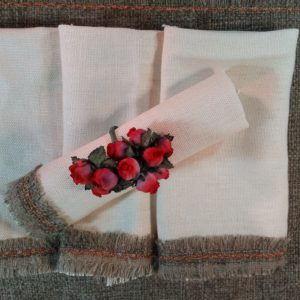 Linen Cream and Brown Trim Lunch Napkins